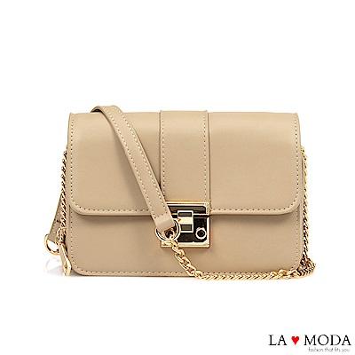 La Moda 輕鬆出遊大容量多夾層鏈帶小方包(杏)