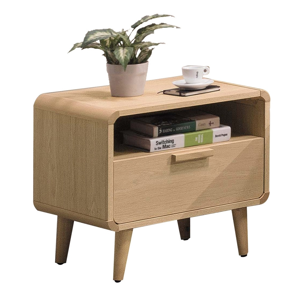 文創集 奧皮斯現代1.8尺單抽床頭櫃/收納櫃-55x42x55cm免組