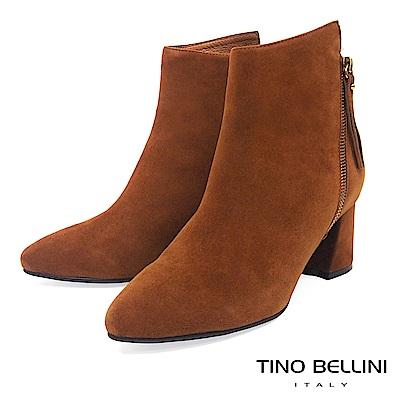 Tino Bellini 不對稱造型鞋口雙拉鍊中跟短靴 _ 棕