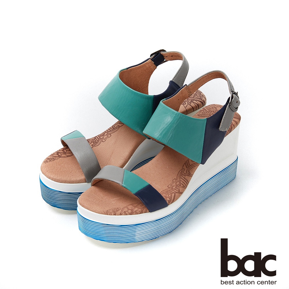bac加州陽光-異國風情拼色皮革厚底台涼鞋-綠色 @ Y!購物