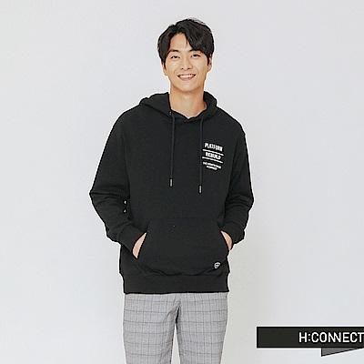 H:CONNECT 韓國品牌 男裝-隨性風圖文帽T-黑