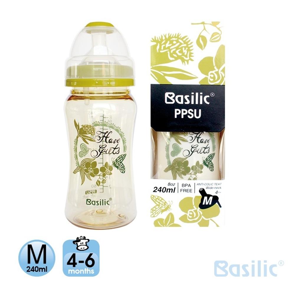 貝喜力克 Basilic 防脹氣PPSU寬口大奶瓶240ml-M(優惠兩入組)