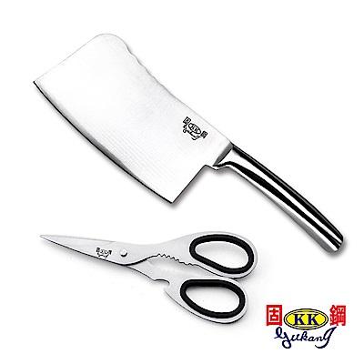 固鋼 一體成型420不鏽鋼料理刀具2件組(剁刀+剪刀)