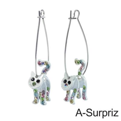 A-Surpriz 可愛立體貓咪晶鑽耳環