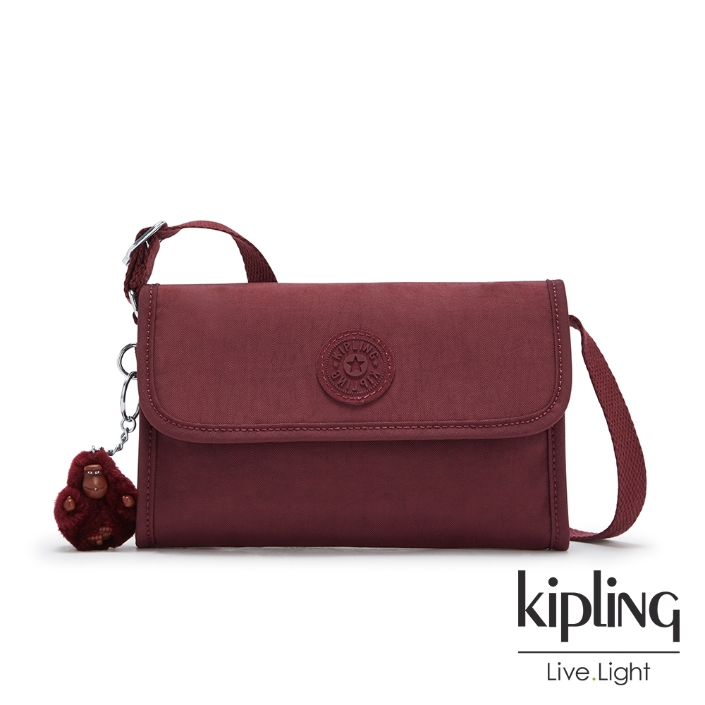 Kipling 知性典雅酒紅掀蓋拉鍊肩背包-BERRY