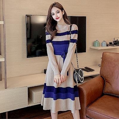 DABI 韓系時尚毛線條紋撞色修身時尚顯針織長袖洋裝