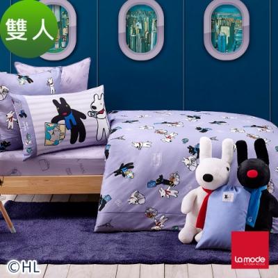 La mode寢飾 環遊世界趣環保印染100%精梳棉被套床包組(雙人)