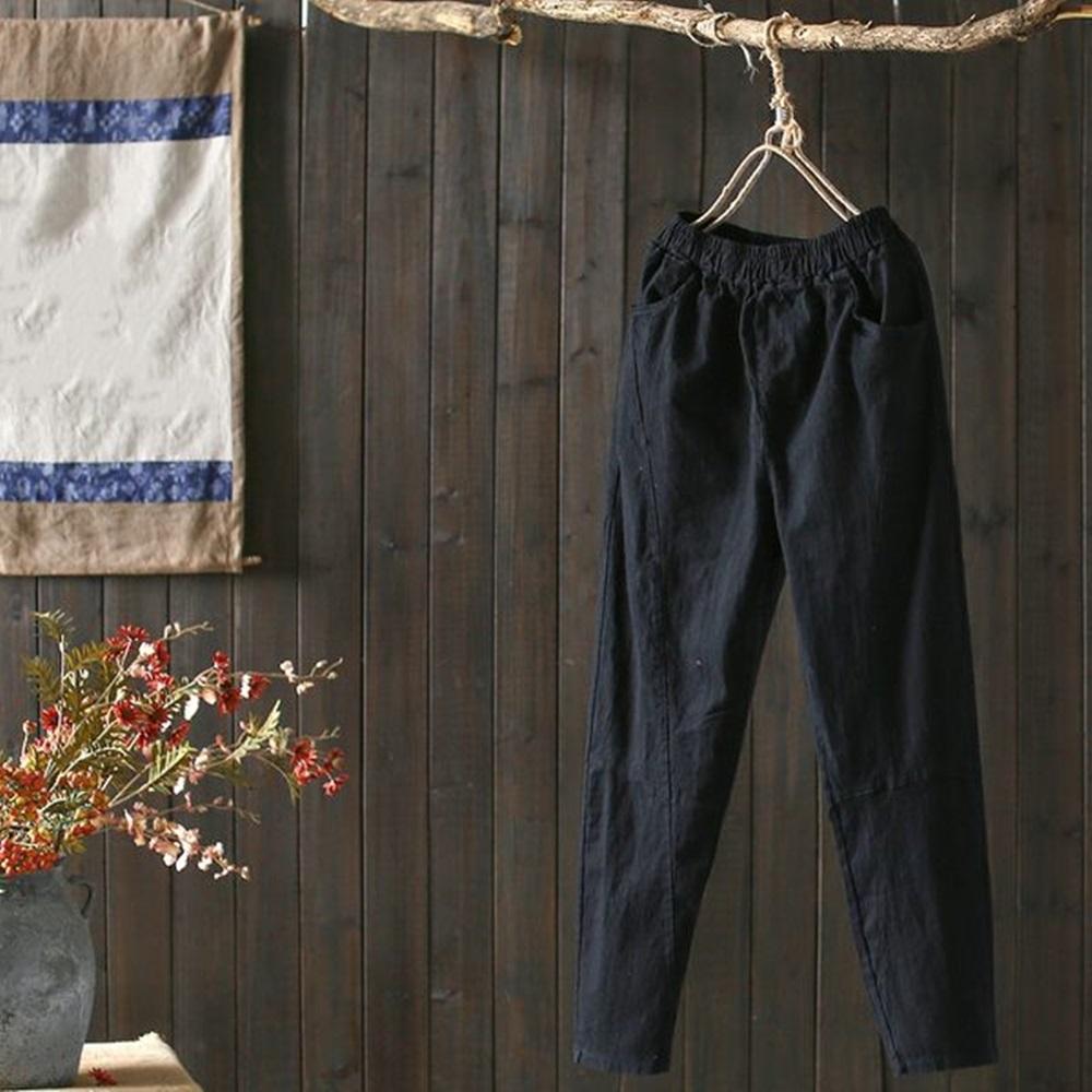 文藝棉麻休閒寬鬆拼接鬆緊腰長褲-設計所在