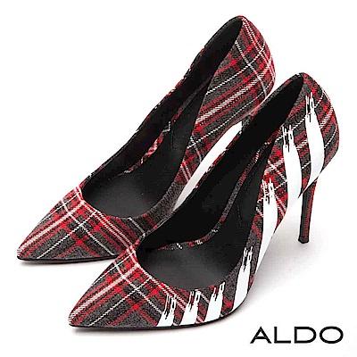 ALDO 紅灰毛呢格紋搖滾噴漆鞋面尖頭細高跟鞋~搖滾格紋