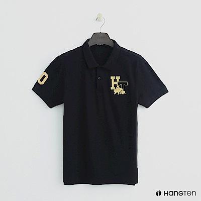 Hang Ten - 男裝 -logo刺繡POLO杉-黑