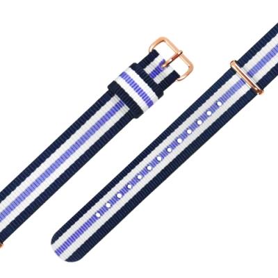 Watchband DW 各品牌通用 鍍玫瑰金不鏽鋼扣頭 尼龍錶帶-藍x白x紫
