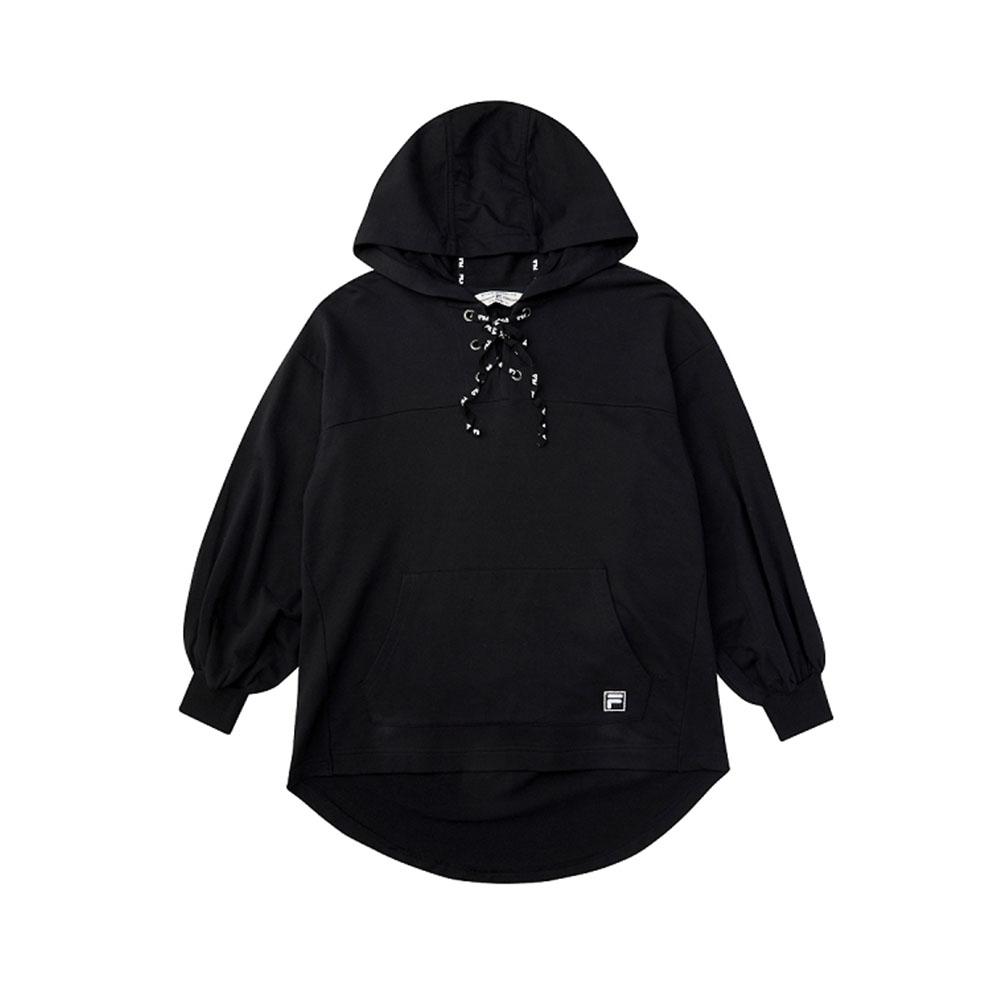 FILA #架勢新潮 女長袖連帽T恤-黑色 5TEV-1421-BK