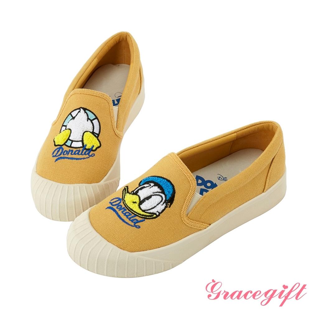 Disney collection by gracegift不對稱電繡平底鞋 黃