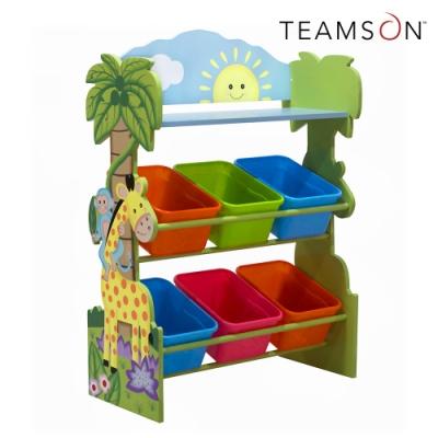 Teamson 叢林探險3層兒童玩具收納架/櫃(附6個收納盒)