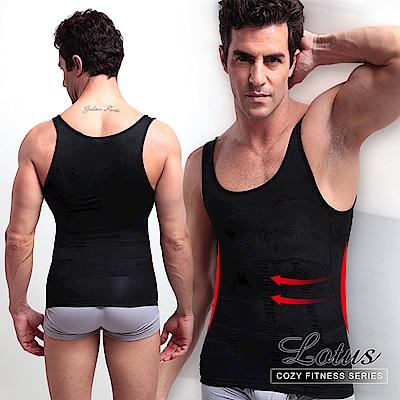 男性保暖塑身衣 收腰緊身塑腹背心(黑色) LOTUS
