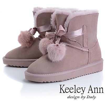 Keeley Ann 甜美氣息~唯美綁帶毛球舒適雪靴(淺粉色-Ann系列)