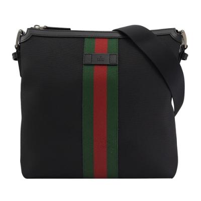 GUCCI 烙印LOGO綠紅綠織帶裝飾帆布織帶斜背包(黑)