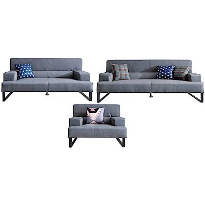 品家居 費尼時尚灰貓抓皮革獨立筒沙發椅組合(1+2+3人座)