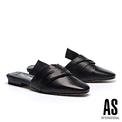 拖鞋 AS 抓皺紐結造型羊皮穆勒低跟拖鞋-黑