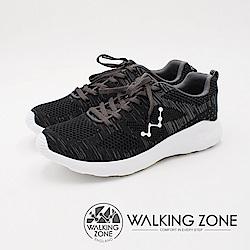 WALKING ZONE 天痕戶外W系列 飛線編織慢跑休閒 女鞋-黑(另有藍)