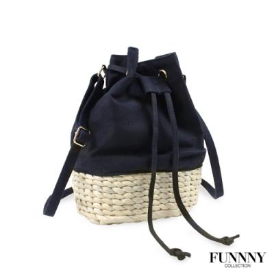 [絕版暢貨] FUNNNY 期間限定款 帆布x草編水桶包 伊藤 帆織 黑