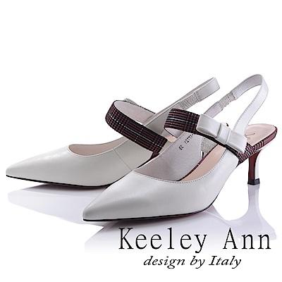 Keeley Ann 氣質百搭~經典格紋蝴蝶結鬆緊帶真皮中跟女巫鞋(米色-Ann)