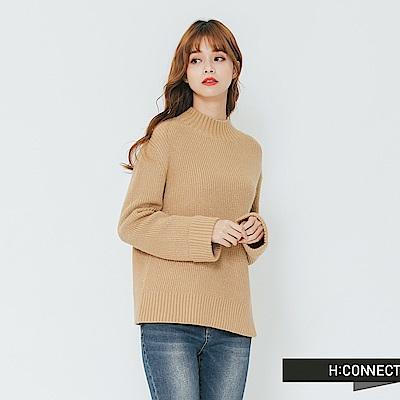 H:CONNECT 韓國品牌 女裝-簡約小立領針織上衣-卡其