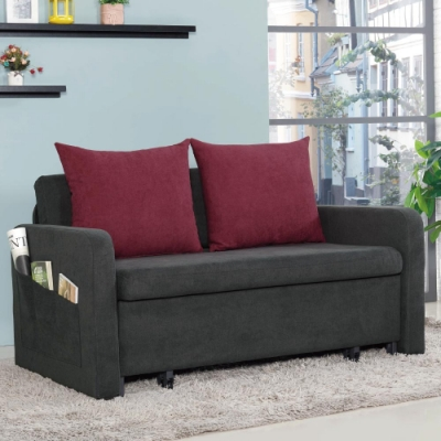 文創集 卡格登時尚咖棉麻布多功能沙發/沙發床(拉合式機能設計)-140x88x77cm免組