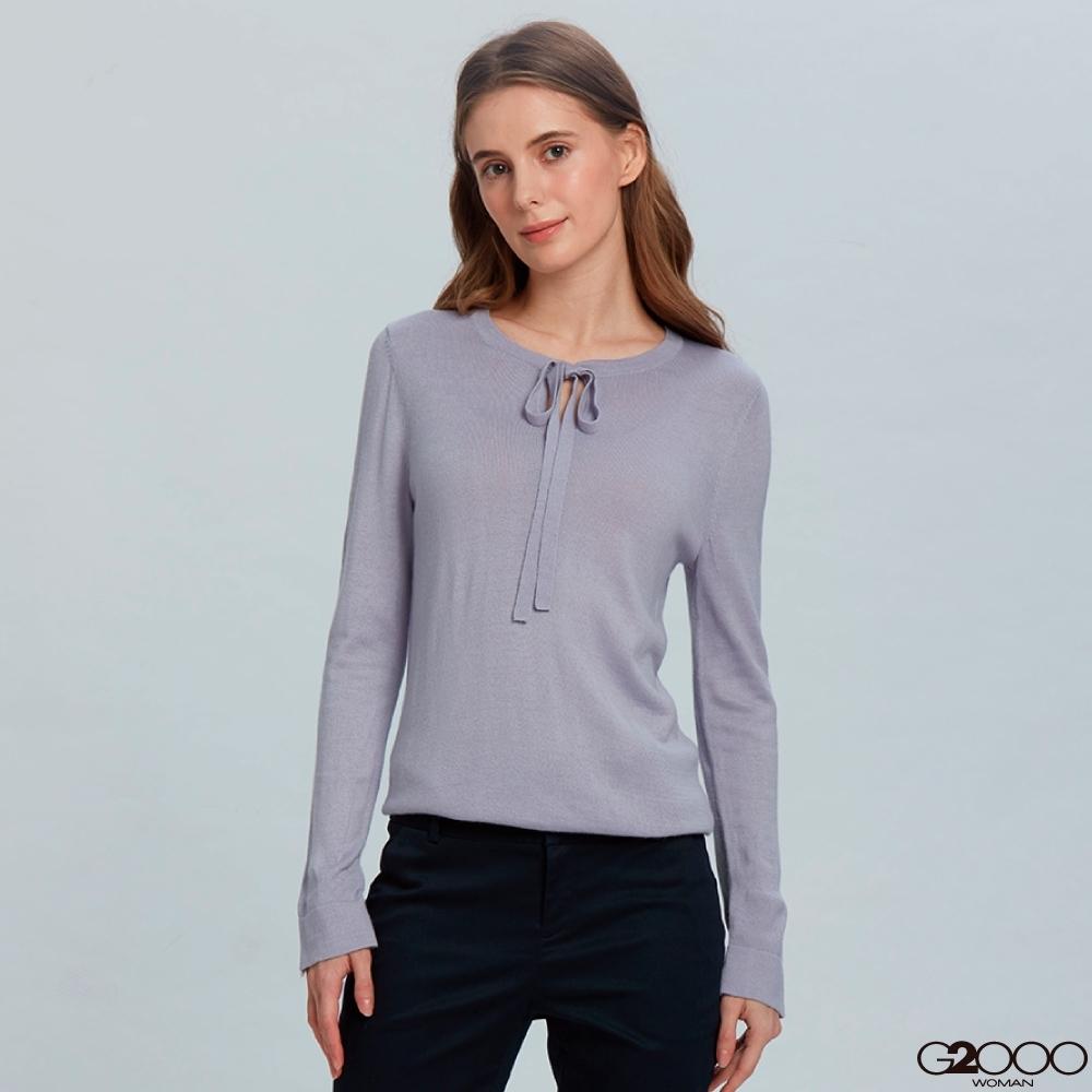 G2000素面長袖針織衫-紫色