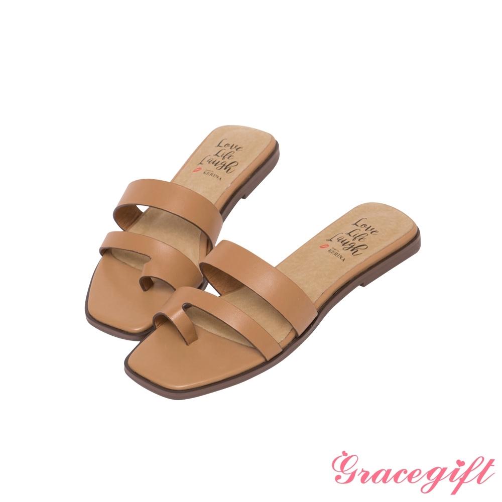 Grace gift X Kerina-聯名雙帶套趾平底涼拖鞋 棕