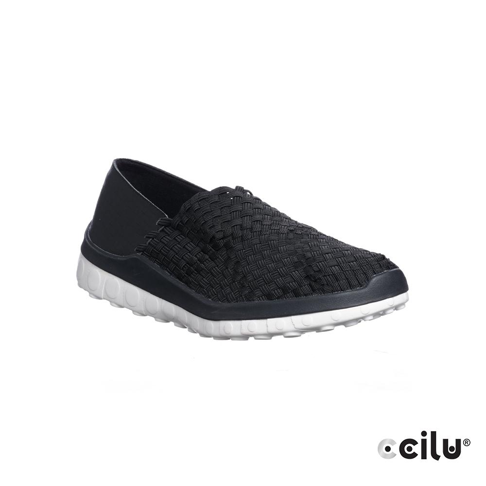 CCILU 編織平底休閒鞋-男款-301260001黑色