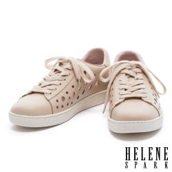 休閒鞋 HELENE SPARK 清新簡約幾何沖孔純色全真皮厚底休閒鞋-米
