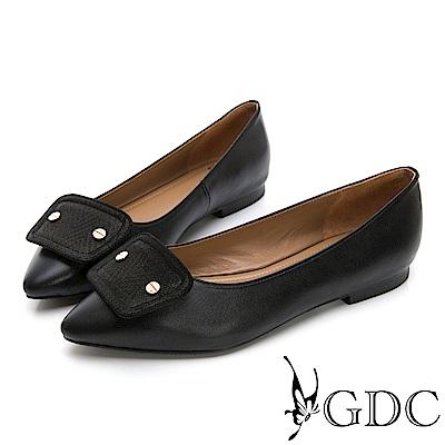 GDC-真皮時尚質感素色上班尖頭平底鞋-黑色