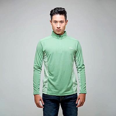 GFun 男款立領麻花款排汗衫(咖啡紗機能)-麻花綠(M1555-GREEN)