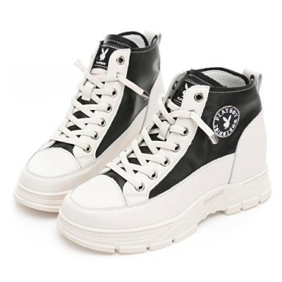 PLAYBOY 內增高真皮短靴-白黑-Y68031C