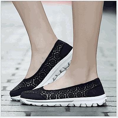 韓國KW美鞋館 平口蕾絲小花減震軟底鞋-黑色