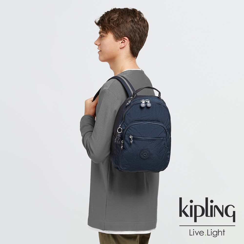 Kipling 經典普魯士藍機能手提後背包-SEOUL S