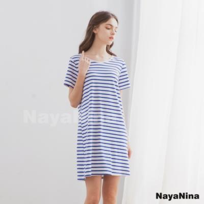 Naya Nina 親膚透氣精梳絲柔棉無鋼圈BRA罩杯短袖居家服睡裙(藍條紋)