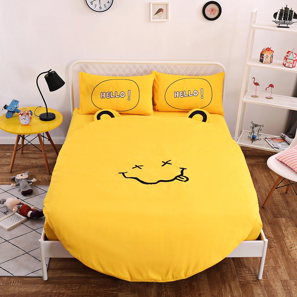 HUEI生活提案 柔絲絨圓形被套床包五件組 加大含被芯 微笑黃