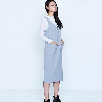 Bois-White-A口袋背心連身洋裝-黑/灰/粉