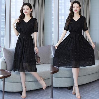 【韓國K.W.】韓時尚嬌豔V領洋裝