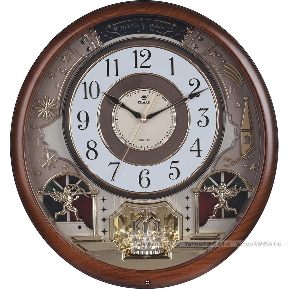 POWER霸王鐘錶-天使禮讚音樂掛鐘-仿木紋色-PW-6246-JRMKS2-46.7CM