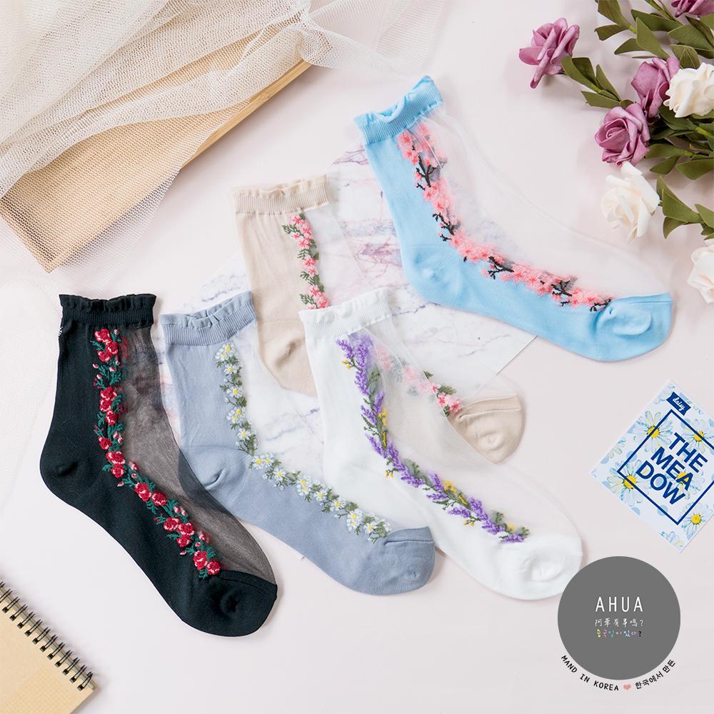 阿華有事嗎 韓國襪子 浪漫透膚花朵中筒襪 韓妞必備透膚襪 正韓百搭純棉襪