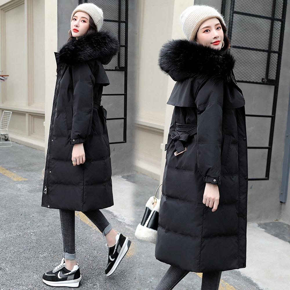 保暖可拆連帽毛領羽絨棉外套XS-2XL(共三色)-WHATDAY (黑色系)