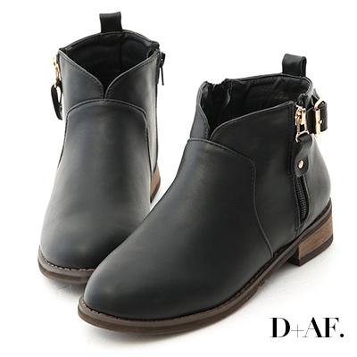 D+AF 好評推薦.小V口側拉鍊平底短靴*黑