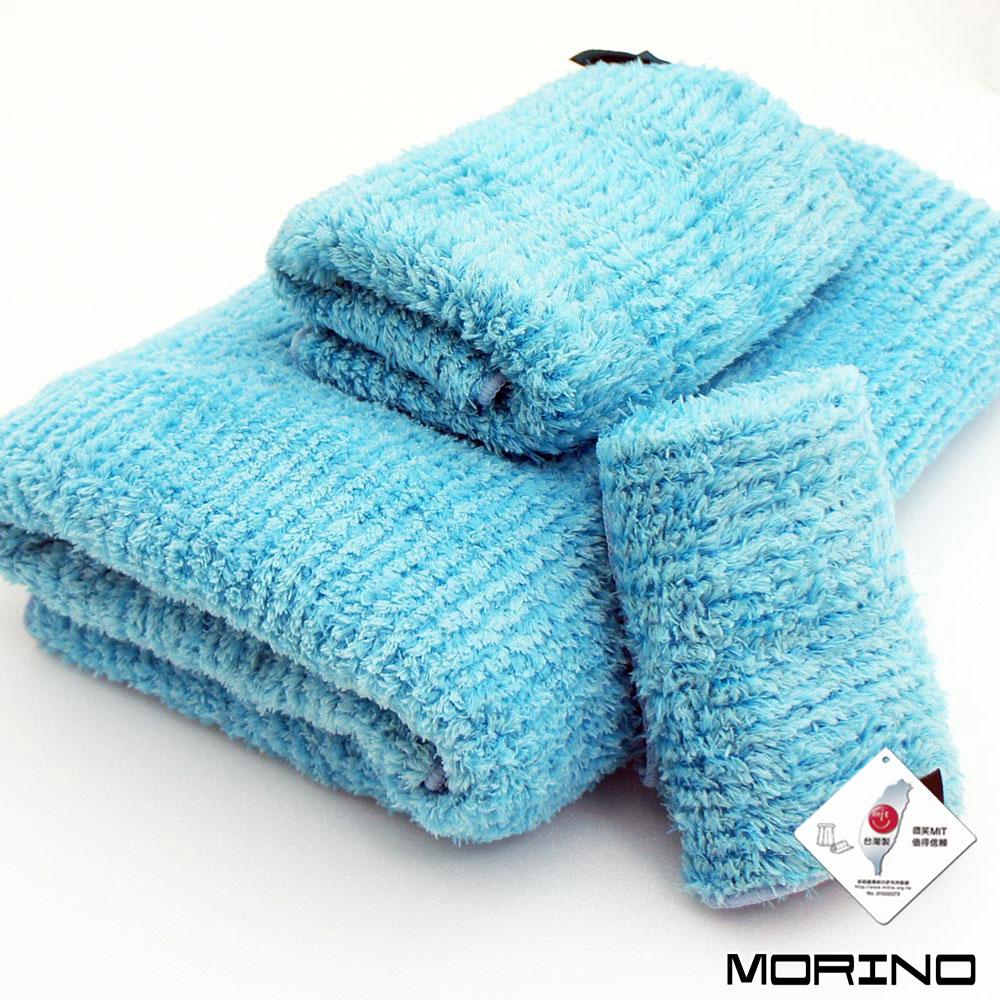 MORINO摩力諾 超細纖維條紋方毛浴巾3件組-土耳其藍
