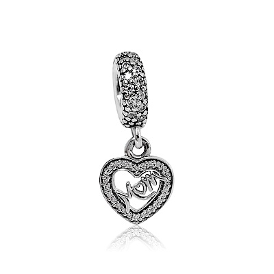 Pandora 潘朵拉 MOM刻字鏤空愛心鑲鋯 垂墜純銀墜飾 串珠