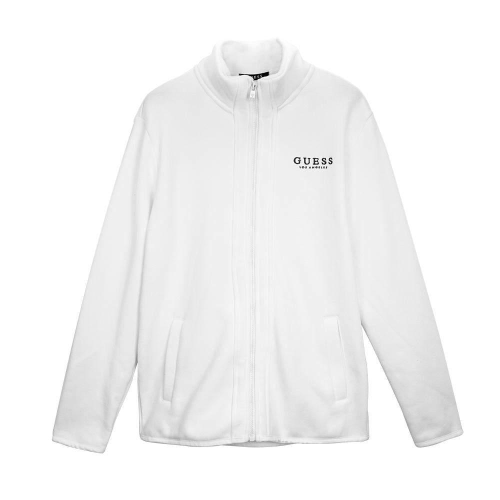 GUESS-男裝-素色運動休閒外套-白