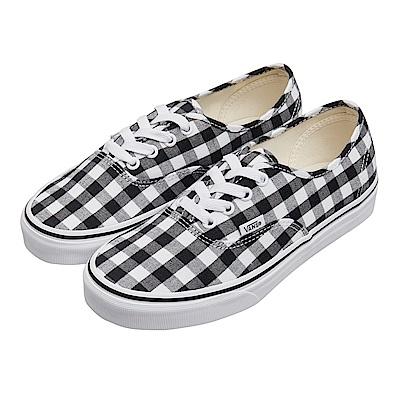 (女)VANS Authentic 格紋綁帶休閒鞋*黑白