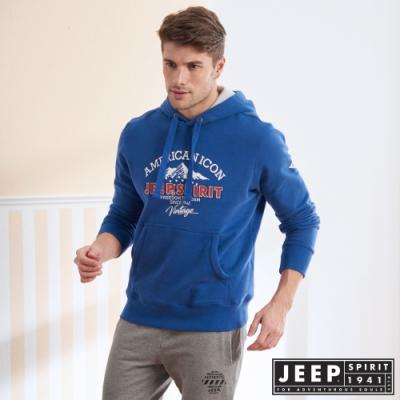 JEEP 經典美式長袖刷毛連帽TEE-藍色
